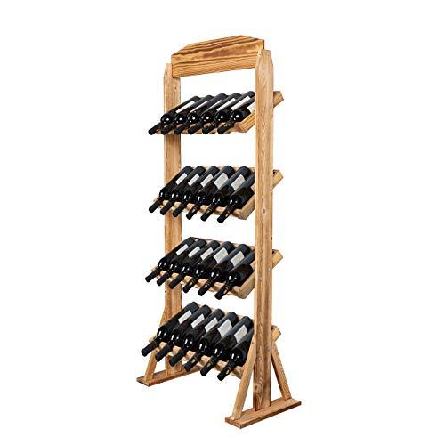 DlandHome Porta Bottiglie Da Vino in Legno 4 Ripiani 24 Bottiglie Cantinetta Scaffale Porta...