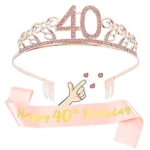 40 Anni Compleanno Cintura Etiquette e Corona Diadema, Fascia Personalizzata Decorazione di Compleanno per Ragazze Adulti, Ideale Set di Compleanno Forniture per Feste