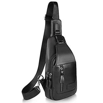 Hebetag Sac à bandoulière en cuir sac à dos de randonnée pour hommes femmes voyage en plein air Camping pêche bandoulière épaule poitrine sac à dos (#07Noir)