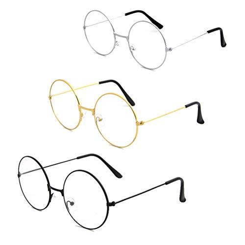 MUCHEN-SHOP Metallrahmen Runde Brille,3 Pack Retro Metall Klare Linse Brillen Weinlese Klassiker Dekobrille Klassisches für Damen Herren Unisex Wroking Dressing Schwarz Gold Silber