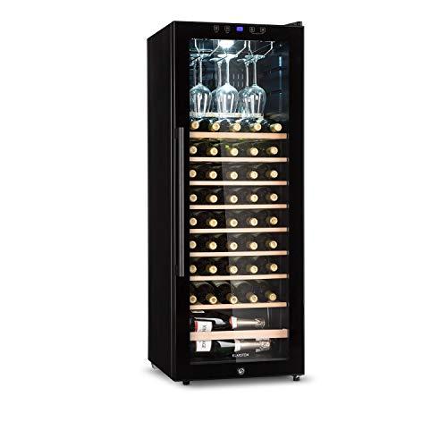 KLARSTEIN Barossa - Cantinetta Vini, Refrigeratore Vini con Porta in Vetro, Vetrina Vino, 5-18 C, Display LCD, Illuminazione Interna a LED, Controllo Touch, Nero, 148 L, 54 Bottiglie
