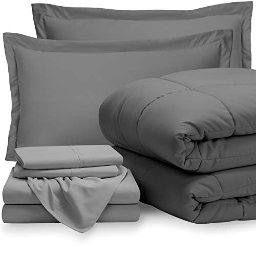 Bare Home Bedding Set 7 Piece Comforter & Sheet Set - Queen - Goose Down Alternative - Ultra-Soft 1800 Premium -...