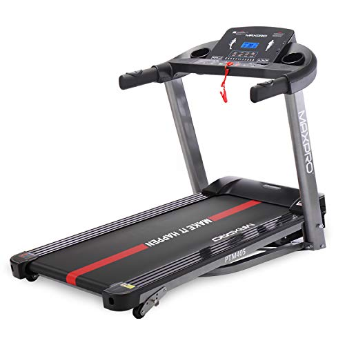WELCARE MAXPRO PTM405 2HP(4 HP Peak) Folding Treadmill, Electric Motorized Power Fitness Running Machine with LCD Display and Mobile Phone Holder Perfect for Home Use - Grey