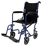 Karman Healthcare LT-2017-BL Folding Aluminum Transport Chair, Blue, 17' Seat Width