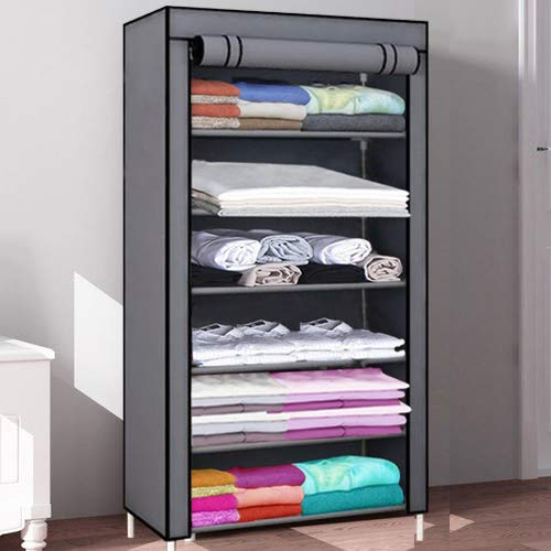 Keekos Collapsible Clothes Storage Wardrobe Cupboard with Shelves Cabinet/Dust-Proof Multipurpose...