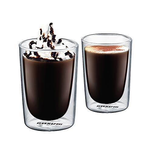 CMXING Doppio Strato Vetro Set, Espresso Tazzina Tazzine da caffè Vetro Bicchieri Borosilicato con Manico, Bicchieri caffè Vetro per Bevande Calde e Fredde, 2 Pezzi (300ML)