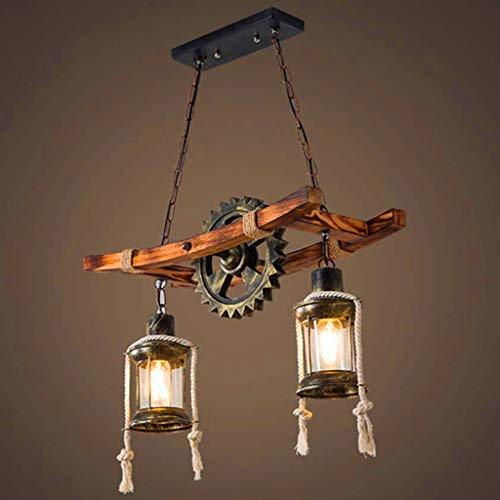 Rustic Wooden Pendant Lights Vintage Oak Hanging Lamp Dining Table Dining Room Chandelier Industrial Metal Ceiling Light Retro Ceiling Lighting Industrial Lamps Country House Lamp Bar Droplight Shade
