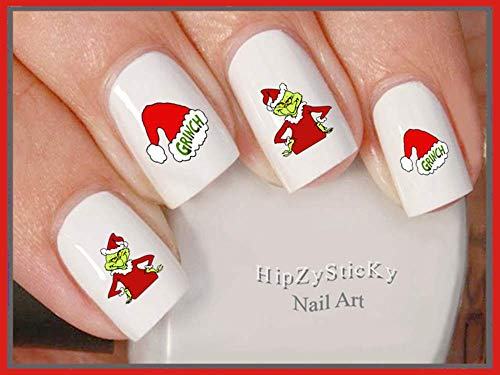 Holiday Christmas - Christmas 802X Grinch #2 Red Santa Suit Santa Hat Nail Decals - WaterSlide Nail Art Decals - Highest Quality! Made in USA