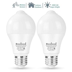 Boxlood Motion Sensor Light Bulb, Automatic Activated by Movement Security LED Bulb Lamp, 12W(100W Equivalent), A19,E26,120V,6000K Daylight for Front Door,Basement,Garage Stairs,Hallway- 2Pack