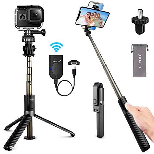 PEYOU 32.3 ''Perche Selfie Trépied,[Rechargeable] 4 en 1 Bluetooth...