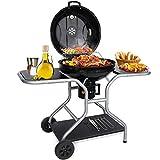Barbecue à Charbon de Bois, Grille Barbecue 58cm de DiamèTre BBQ Charbon Smoker avec Couvercle, Roues Mobile pour Camping au Jardin