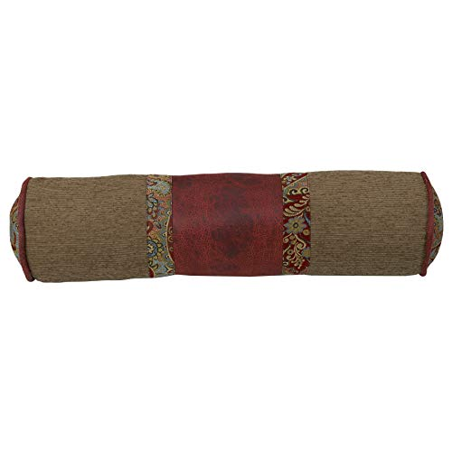 """HiEnd Accents San Angelo Western Chenille, Faux Leather & Paisley Bolster Pillow, 8"""" x 26"""", Tan & Red"""
