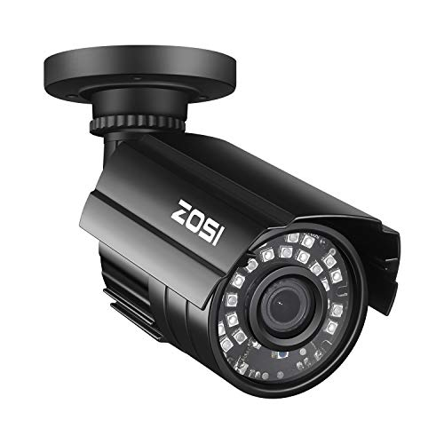 ZOSI 1.0MP HD 720p 1280TVL Outdoor/Indoor Security Camera (Hybrid 4-in-1 HD-CVI/TVI/AHD/960H Analog CVBS),24PCS LEDs,65ft IR Night Vision,Weatherproof Surveillance CCTV Bullet Camera