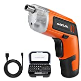 Cordless Electric Screwdriver Meterk Rechargeable Drill 3.6V 2000mAh MAX Torque 5N.m 30pcs Screw Bits, Drill Bit Extension Holder, USB Charging with LED Light