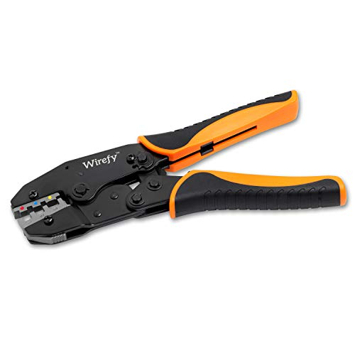 Crimping Tool For Heat Shrink Connectors - Ratcheting Wire Crimper - Crimping Pliers - Ratchet Terminal Crimper - Wire Crimp Tool by Wirefy