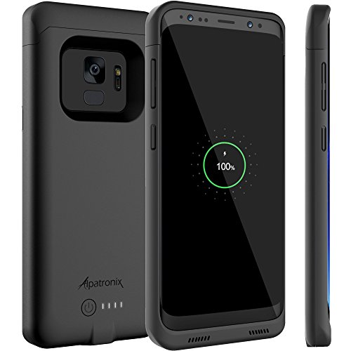 Galaxy S9 Battery Case with Qi Wireless Charging Compatibility, Alpatronix BX440 5.8-inch 4000mAh Slim Rechargeable Extended Protective Portable Backup Charger for Samsung S9 [Android 8.0+] - Black