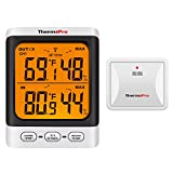 ThermoPro TP62 Indoor Outdoor Thermometer Wireless Weather Hygrometer, 200ft/60m Range Temperature Humidity Sensor, Backlight Indoor Room Thermometer for Home Greenhouse Garden