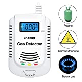 Plug-in Carbon Monoxide Alarm Detector, KOABBIT Home Kitchen Compound Alarm with LCD Digital Display, Support 9V Rechargeable Battery (Not Included)