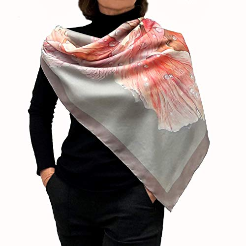 Designer Square Silk Scarf for Women Hand Painted and...