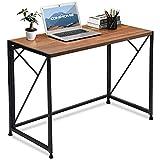 COMHOMA Bureau Informatique Table Pliante au Style Simple et Moderne Adapté pour Etude et Travail (Brown)