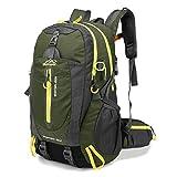 RatenKont 40L Resistente al Agua Travel School College Daypacks Camp Hike Laptop Trekking Climb Bags Army Green 30-40L