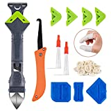 Upgraded 5 in 1 Caulking Tool (Stainless Steel Head), Reecola Silicone...