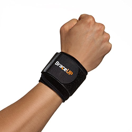 BraceUP Wrist Compression Strap and Support, One Size Adjustable (Black), 1 PC