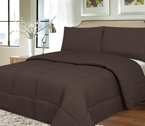 Sweet Home Collection Down Alternative Polyester Comforter Box Stitch Microfiber Bedding - King, Brown