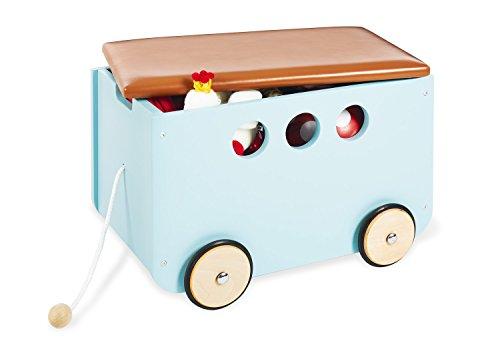 Pinolino Spielzeugkiste Jim, aus Holz und Kunstleder, mit Zugschnur und gummierten Holzrädern, Deckel abnehmbar, ab 3 J., mint lackiert/Kunstleder braun