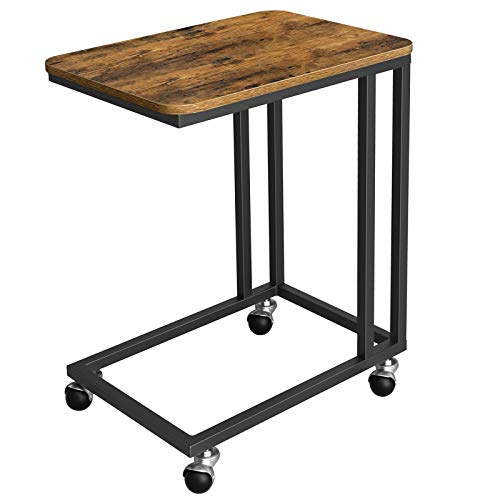 VASAGLE Industrial Side Table, End Table for Coffee Laptop Tablet, Mobile Table with Rolling Casters, Steel Frame, for Living Room, Bedroom, Rustic Brown and Black ULNT50X