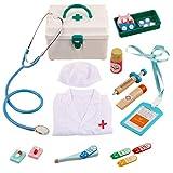 Oeasy Maletin Medico Juguete Madera con Ropa, 18 Piezas Maletin Doctora Madera Juguetes con Estetoscopio, Juegos de Imitación para Niños Niña