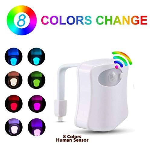 AITECH Led Wc Sensore per Bagno Adattabile a Qualsiasi Toilette 8 Cambiamento di Colori Luce Wc...