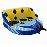 Sable 3-Person Towable Tube with Dual Front & Back Tow Points, 3 Rider Inflatable Towable with Heavy Gauge & Durable Build, Anti Leakage Inflatable Float Tube with Included Air Pump