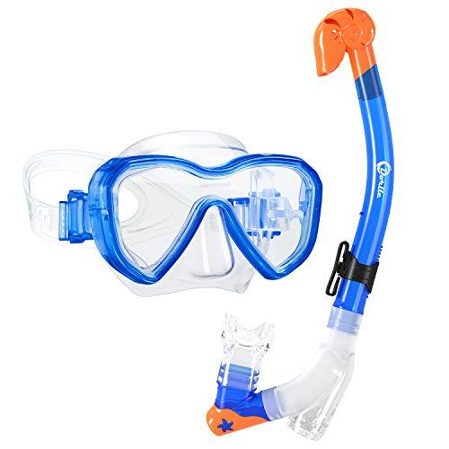Dorlle Kinder Schnorchelset Tauchset Schnorchelmaske mit 3-Kanal Premium Dry Schnorchel und Anti-Leck Anti-Fog Taucherbrille Professionelle Schnorchel Set für Kinder,Blau