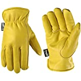 Men's Winter Leather Work Gloves, 100-gram Thinsulate, Cowhide, Lined Leather, Large (Wells Lamont 1108L),Yellow