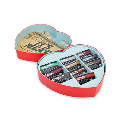 Jerky Heart – Fun, Romantic Gift For Men – Includes 10 Delicious Beef Jerky Flavors Like Whiskey Maple and Honey Bourbon – In A Delightfully Surprising Heart-Shaped Box