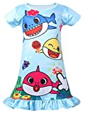 Coralup Toddler Girls Short Sleeve Nightgown Dress(Blue,2-3 Years)