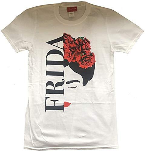 Frida Kahlo - Silhouette - Camiseta Oficial Hombre - Blanco, L