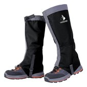 Waterproof Snow Leg Gaiters - YUEDGE Lightweight Waterproof Breathable High Gaiters for Outdoor Walking Hiking Fishing Research Hunting Trimming Grass(Black&Gray)
