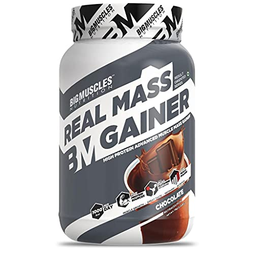 Bigmuscles Nutrition Real Mass Gainer [1Kg, Chocolate] | Lean Whey Protein Muscle Mass Gainer,...