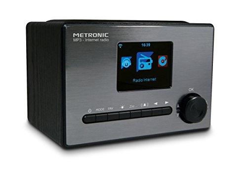 Metronic 477260 Radio connectée Internet WiFi 5 W avec écran Couleur et Port USB, entrée Audio, Fonction Double Alarme, Affichage de l'heure en Veille, Sortie Line Out, Noir