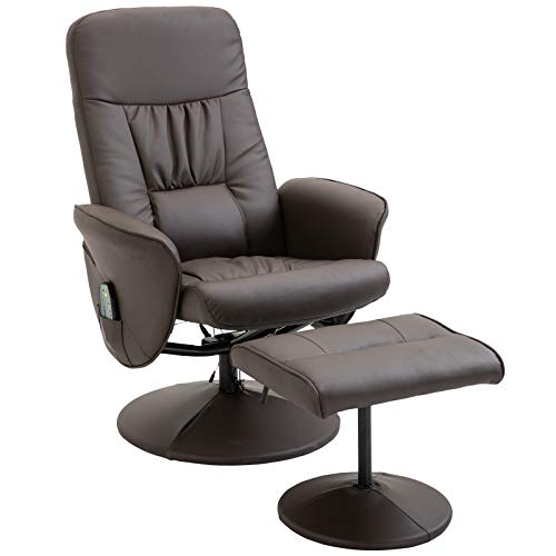 HOMCOM Massagesessel mit Fußhocker Relaxsessel Heizfunktion 135°-Neigung PU Braun 81 x 81 x 105 cm