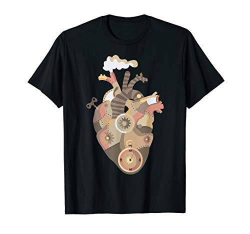 Mechanical Steampunk Heart Mechanic Illustration Image T-Shirt (Apparel)
