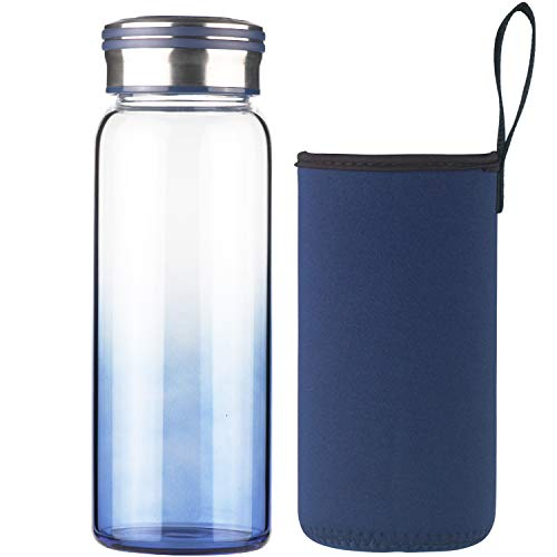 Cleesmil Sport Trinkflasche Glas Wasserflasche 750 ml BPA Free Glasflasche mit Neoprenhülle (Blau)