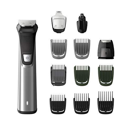 Philips Grooming Kit serie7000 MG7735/15 Tagliacapelli, Regolabarba uomo, Rifinitore Corpo/Naso/Orecchie, Premium, Impermeabile in acciaio, 12in1