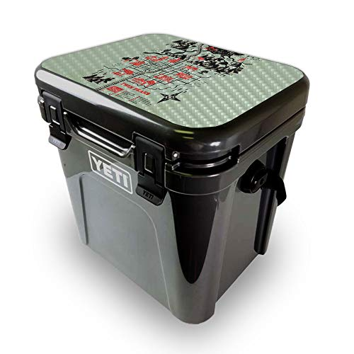 MightySkins Carbon Fiber Skin for Yeti Roadie 24 Hard Cooler LID ONLY - Twin Peaks Map | Protective, Durable Textured Carbon Fiber Finish | Easy to Apply | Made in The USA