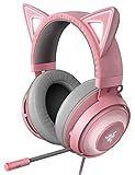 Razer Kraken Kitty Quartz Pink ゲーミングヘッドセット USB THX7.1 ネコミミ Chroma ノイズキャンセリングマイク 冷却ジェルパッド PC PS4 PS5 Switch スマホ 【日本正規代理店保証品】 RZ04-02980200-R3M1