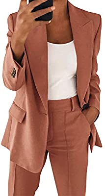 Material: Lightweight fabric, very soft and so comfortable, you could wear for casual. Suitable for spring summer and autumn. Feature: Basic lapel collar blazer jacket for women, two functional flap pockets, fully lined. Front button, cuff buttons, s...