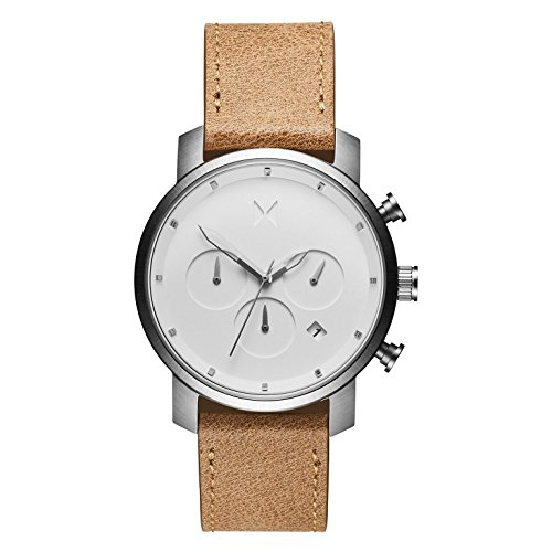 MVMT Herren Chronograph Quarz Armbanduhr mit Lederarmband D-MC02-WT