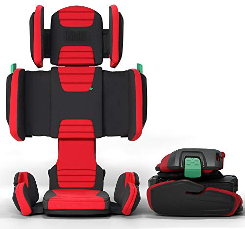 mifold hifold Fit-and-Fold Highback Booster Seat, – Adjustable Highback Booster Car Seat for Everyday, Carpooling and More – Foldable Booster Seat for Travel, Racing Red